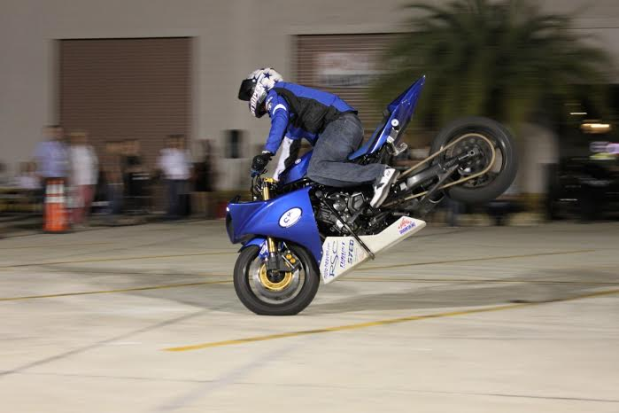 Stunt guy, Dave Cutler - doing a front endo at a show in Florida