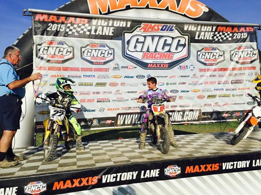 Two young Vee Rubber riders on the podium - Nathan Dulany #1 and Kenny Held #22